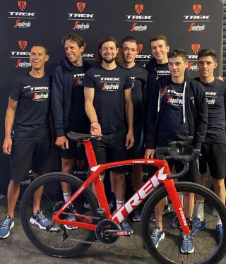 Trek-Segafredo's team signed a Trek Madone that is being auctioned for bushfire relief