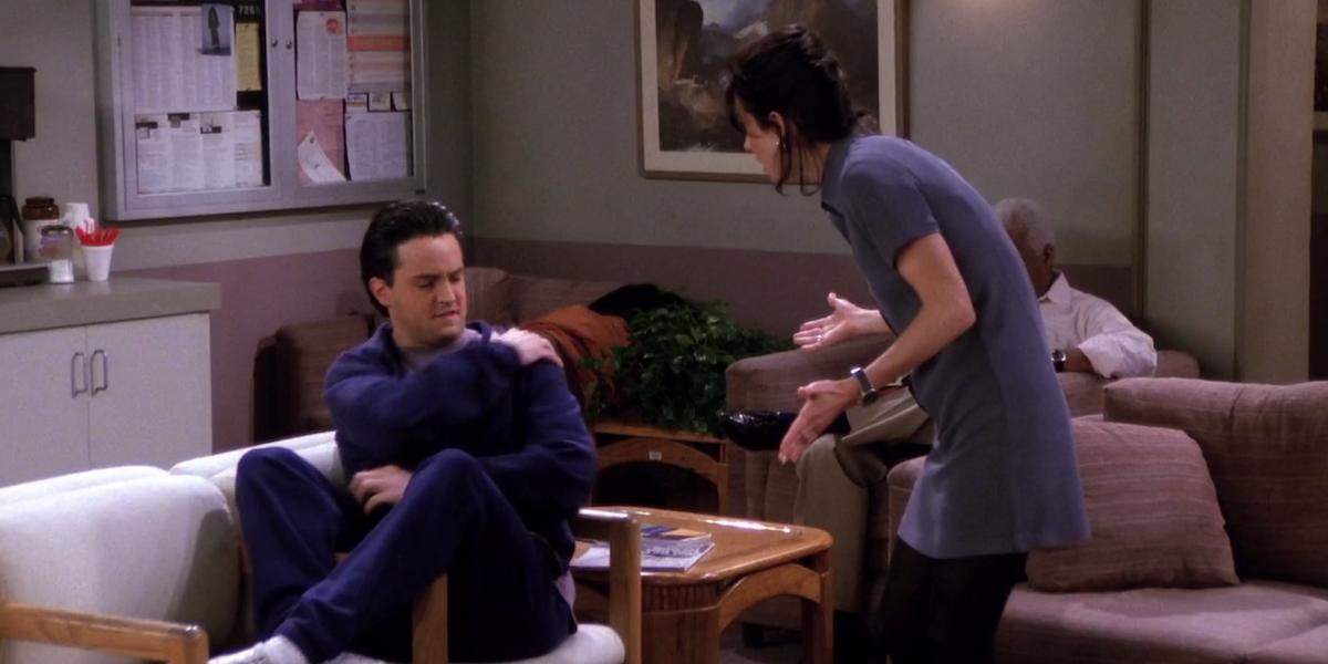 Friends Chandler Monica dear god this parachute is a knapsack