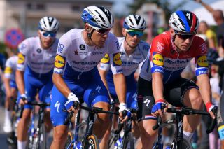 Dutch road race champion Fabio Jakobsen (right) with his Deceuninck-QuickStep teammates during the opening stage of the 2020 Tour de Pologne
