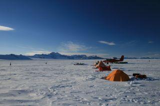 antarctic survey plane and camp.