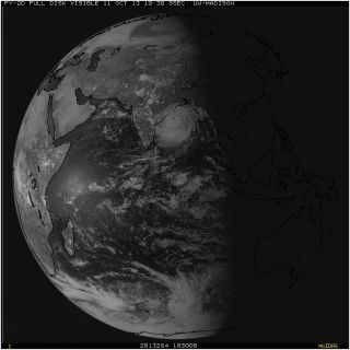 As shown in this image captured at 10:30 a.m. Central on Oct. 11, Cyclone Phailin has grown to half the size of India.