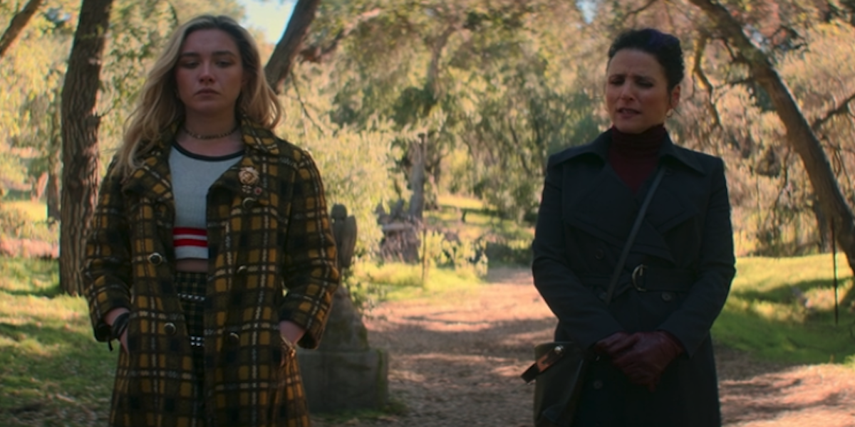 Florence Pugh and Julia Louis-Dreyfus as Yelena and Valentina in Black Widow end credits scene