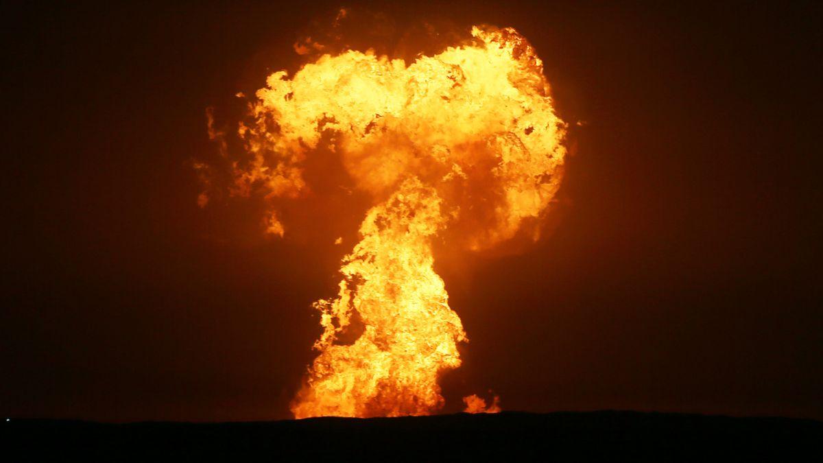 Rare mud volcano explodes into towering inferno in Caspian Sea