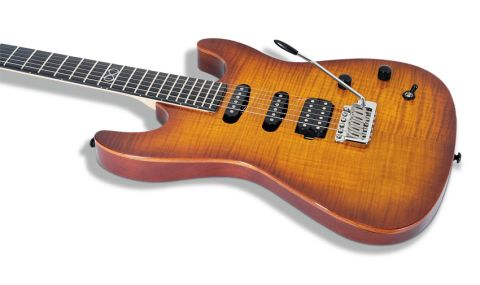 The classic S-type body is fashioned from two slabs of solid mahogany, topped with a figured maple veneer
