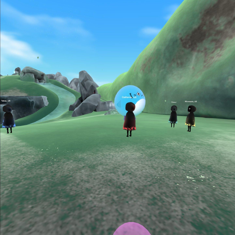 Secret Sky VR music festival screenshots showing various locations in VR