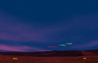 Mercury sky map for June 30 skywatching