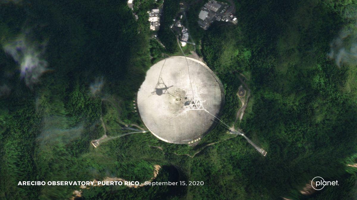 Arecibo radio telescope, damaged beyond repair, seen from space - Space.com