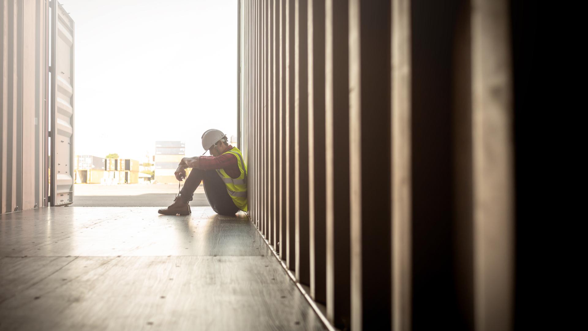 A sad builder