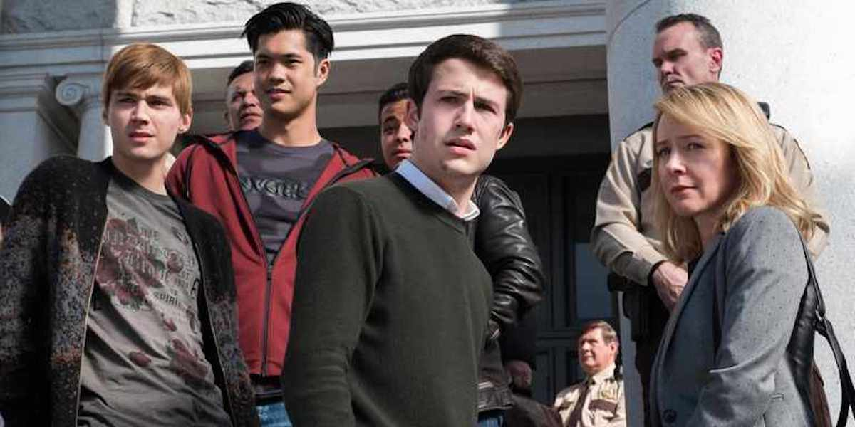 Matt Heizer, Josh Butler, Dylan Minnette and Amy Hargreaves in 13 Reasons Why