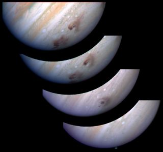 Sequential images of Jupiter show the comet impact and its aftermath.