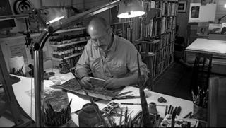 Benoit Sokal in an artist's studio, creating art