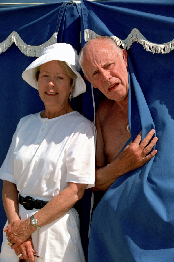 Richard Wilson and Annette Crosbie stand by a tent  while filming in the Algarve