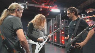 (from left) James LoMenzo, Dave Mustaine and Kiko Loureiro rehearse