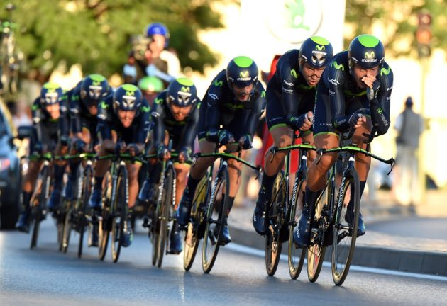 Team Movistar on stage one of the 2014 Tour of Spain