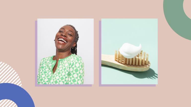 smiling woman and toothbrush with toothpaste on peach background