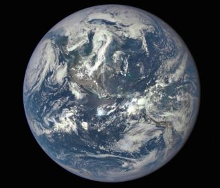 A NASA camera on theDeep Space Climate Observatorysatellite returned this view of the sunlit side of Earth from 1 million miles away.