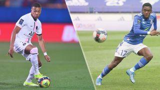 Paris Saint Germain vs Strasbourg Live stream — Kylian Mbappe of PSG and Jean-Ricner Bellegarde of Strasbourg