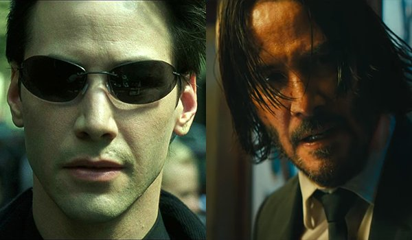 Keanu Reeves as Neo and John Wick