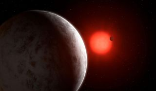 An artist's impression of the star Gliese 887 and its planetary system.