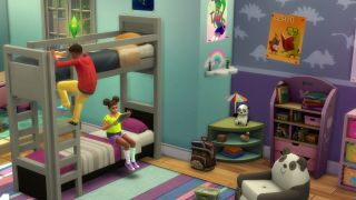 The Sims 4 children climbing and sitting on a bunk bed