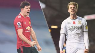 Manchester United vs Leeds United live stream Premier League 2021-2022 — Harry Maguire of Manchester United and Patrick Bamford of Leeds United