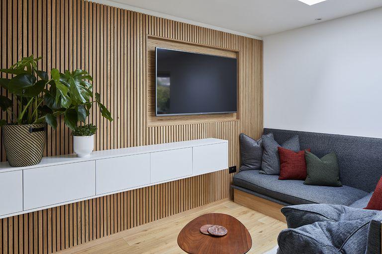 hallway updates wood clad wall
