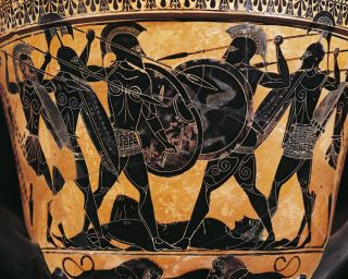 Black-figure pottery, Krater depicting fight for the body of Patroclus, From Farsala, Greece.