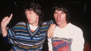 A photograph of Jeff Beck with Mick Jagger in 1968