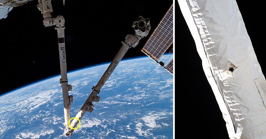 Space station robotic arm hit by orbital debris in 'lucky strike'