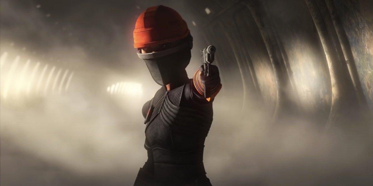 Fennec Shand holding gun in Star Wars: The Bad Batch