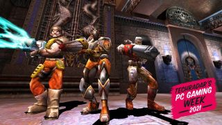 Quake 3 Players Armed To The Teeth And Looking Fierce In A Deathmatch