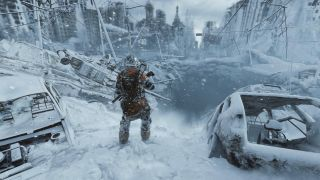 A soldiers trudges through the snowy ruins of a city.