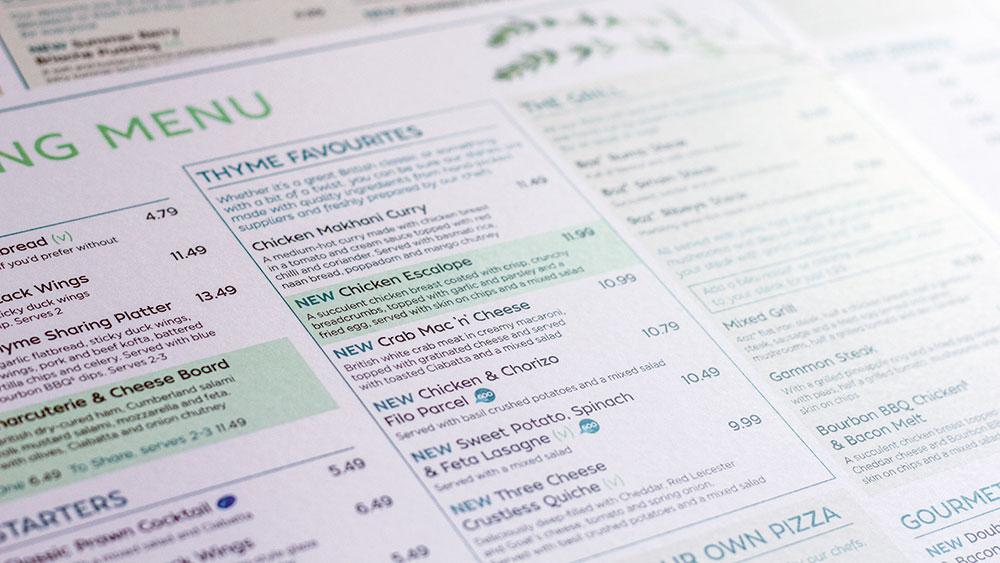 menus for Thyme, Premier Inn