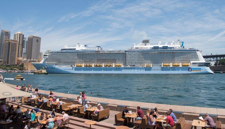 "Royal Caribbean Cruise line's ""Ovation of the Seas"" on Dec 29, 2017 in Sydney, Australia."