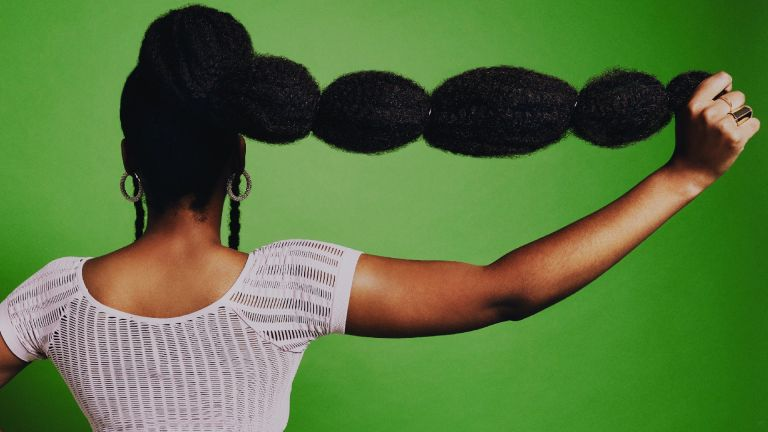 Woman with an example of ponytail hairstyles