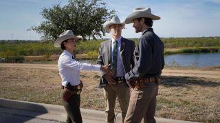 Three Texas Rangers wear ostentatious hats