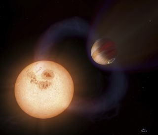 An exoplanet orbiting a star.