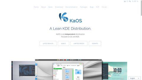 screngrab of KaOS' website