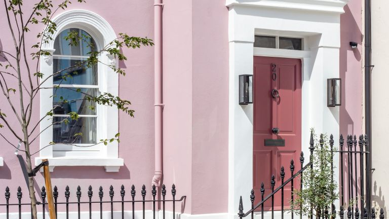 Exterior of pink Chelsea mews house