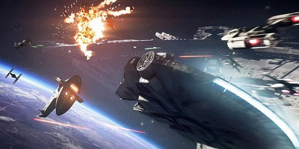 A space battle in Star Wars Battlefront II.
