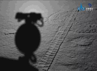 China's lunar program released this image of Yutu 2's tire tracks on the moon on March 30, 2019.