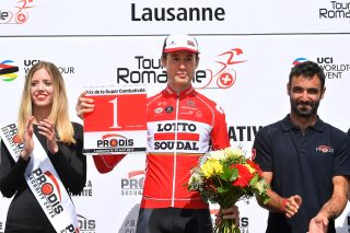 Sander Armee is awarded with the prize for most aggressive rider