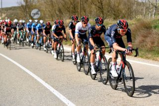 MANRESA SPAIN MARCH 26 Rohan Dennis of Australia and Team INEOS Grenadiers Jonathan Castroviejo of Spain and Team INEOS Grenadiers The peloton during the 100th Volta Ciclista a Catalunya 2021 Stage 5 a 2015km stage from La Pobla De Segur to Manresa 220m VoltaCatalunya100 on March 26 2021 in Manresa Spain Photo by David RamosGetty Images