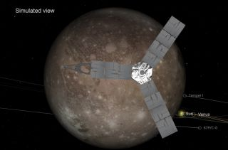 An artist's depiction fo the Juno spacecraft observing Ganymede during the flyby on June 7, 2021.