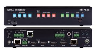 Key Digital has introduced the KD-PS42, a new 4K/18G presentation switcher with four inputs, two mirrored outputs, auto switching, audio de-embed, IR, RS-232, IP, and CEC Manager.