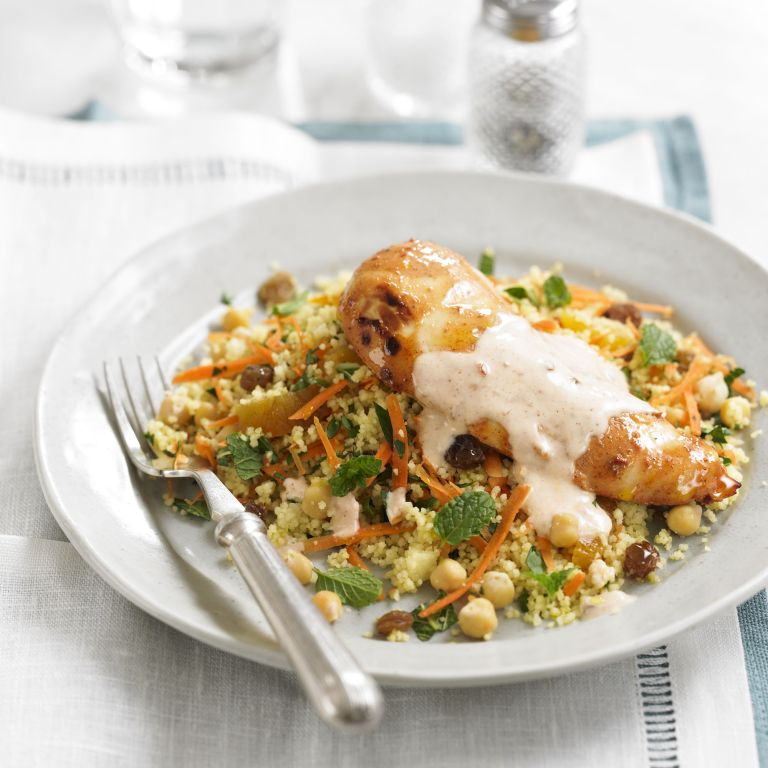 Spiced chicken with fruity couscous & yogurt dressing recipe-woman and home- chicken recipe