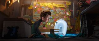 Ron's Gone Wrong: Barney sits in front of a heavily-decorated pinboard with 'How To Be My Friend' at the top as he explains friendship to his new robot Ron