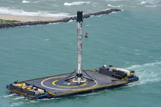 The first stage of the SpaceX Falcon 9 rocket that launched the Demo-2 mission on May 30, 2020, arrives in Florida's Port Canaveral on June 2, 2020.