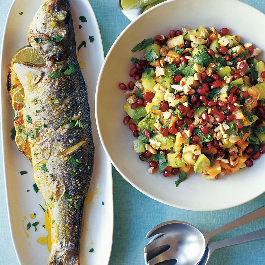 Sea Bass with Avocado and Pomegranate Salad Recipe