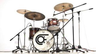 Drum kit in recording studio